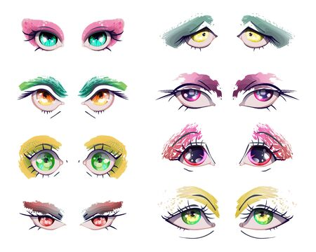 Cartoon anime eyes set. Manga kawaii eyes with different colors, expressions and grunge eyeshadows, sparkling and dazzling. Isolated on white background. Colorful vector illustration Illustration