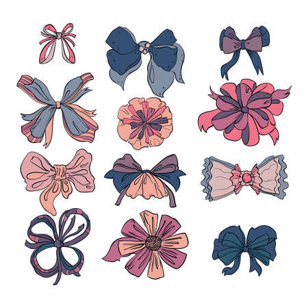 Fashion bows set in different colors and styles. Isolated on white background. Hand drawn vector illustration Illustration