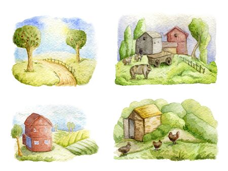 Old farms and rural landscapes set. Fields, houses, trees, domestic animals. Organic farm, local food design concept. Watercolor hand drawn illustration