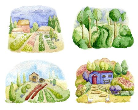 Old farms and rural landscapes set. Fields, houses, gardens, trees, domestic animals. Organic farm, local food design concept. Watercolor hand drawn illustration