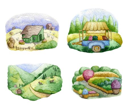 Old farms and rural landscapes set. Fields, houses, gardens, trees, trailer, domestic animals. Organic farm, local food design concept. Watercolor hand drawn illustration Imagens