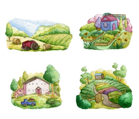 Old farms and rural landscapes set. Fields, houses, gardens, trees, truck, tractor. Organic farm, local food design concept. Watercolor hand drawn illustration Banque d'images