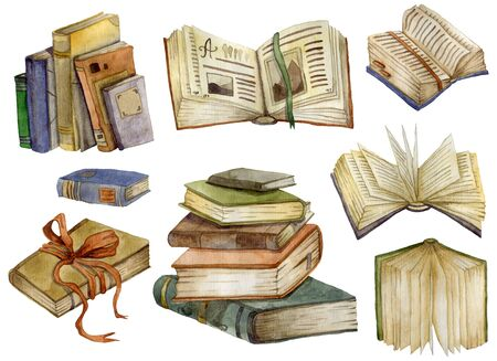 Watercolor books set. Open books and stack of books. Education and knowledge concept. Isolated objects on white background. Hand drawn illustration