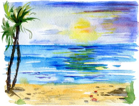 Tropical landscape with beach, sea, palm trees, sun and little crabs. Beach paradise scenery background. Watercolor illustration