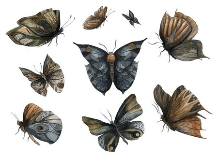 Night dark butterflies set. Abstract fantasy design elements. Isolated on white background. Watercolor illustration Imagens