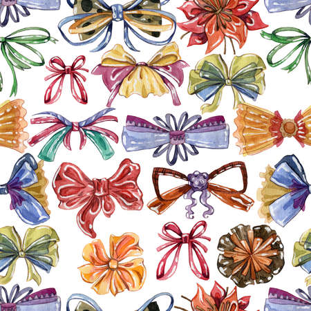 Seamless with watercolor bows set in different colors and styles. Isolated on white background. Hand drawn illustration