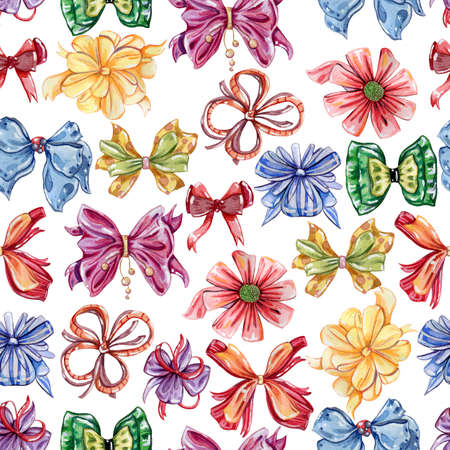 Seamless pattern with watercolor bows. Set in different colors and styles. Holiday design concept for fabric, wallpaper, wrapping paper, prints and poster. Hand drawn illustration Imagens