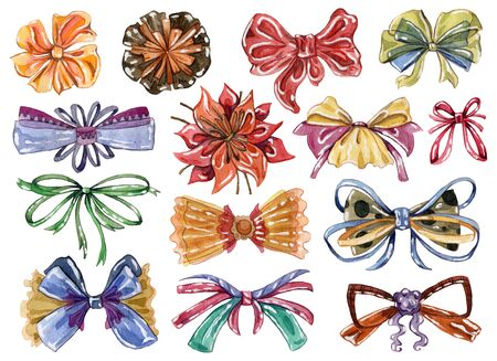 Watercolor bows set in different colors and styles. Isolated on white background. Hand drawn illustration