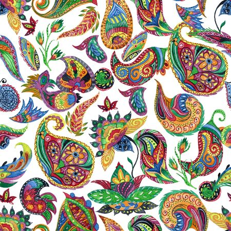 Seamless pattern with watercolor paisley. Oriental decorative design for fabric, prints, wrapping paper, card, invitation, wallpaper. Hand drawn illustration