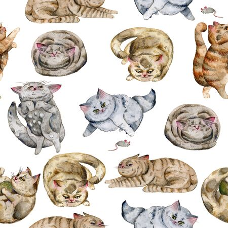 Seamless pattern with cats. Cute funny characters, cat emotions and feelings. Watercolor hand drawn illustration.
