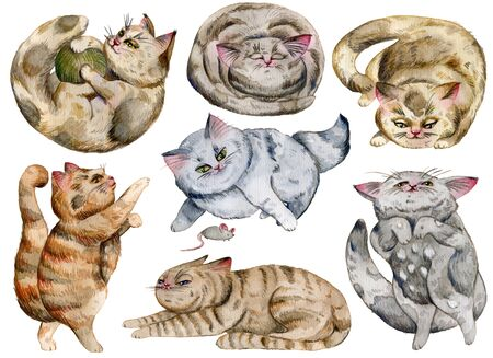 Watercolor cats set. Cute funny characters, cat emotions and feelings. Isolated objects on white background. Hand drawn illustration. Banque d'images