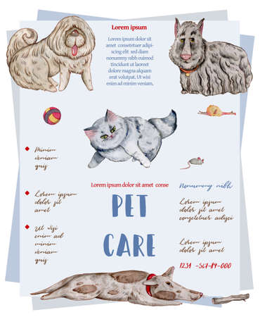 Pet care banner with watercolor cats and dogs. Vet service, cats and dogs care, animals health care, hospital advertising poster design. Hand drawn illustration