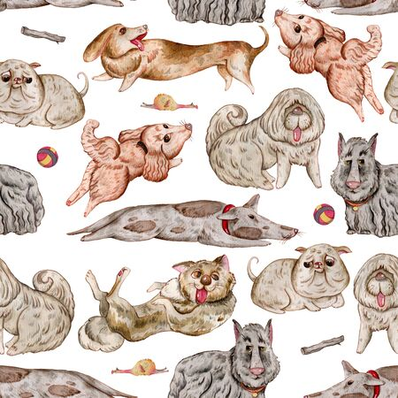 Seamless pattern with dogs and design elements collection. Cute funny characters, dog emotion and feelings. Watercolor hand drawn illustration.
