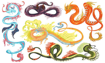 Chinese dragons set. Traditional asian dragon characters in watercolor style. Isolated objects on white background. Vector illustration Ilustração