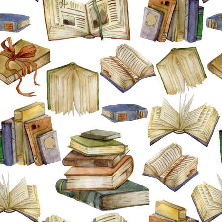 Seamless pattern with watercolor books set. Open books and stack of books. Education and knowledge concept. Isolated objects on white background. Hand drawn illustration