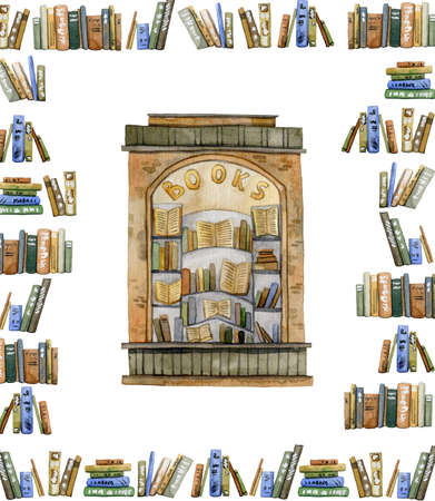Poster with book shelves, book store, books. Collection design elements on white background. Watercolor illustration 免版税图像