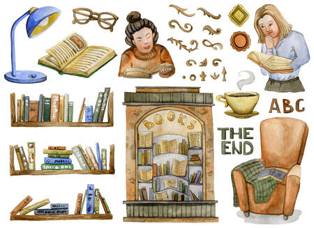 Books. Book shelves, reading people, book store, armchair with plaid, swirls, lamp, glasses. Collection design elements on white background. Watercolor illustration