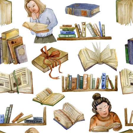 Seamless pattern with book shelves, reading people, open books, ribbons. Collection design elements on white background. Watercolor illustration
