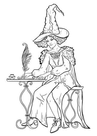 Witch sits at the table and writes a letter with pen and ink. Vector illustration