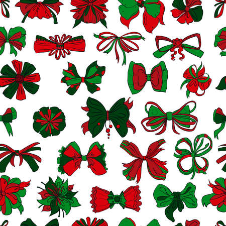 Seamless pattern with Christmas presents bows set in different styles. Isolated on white background. Hand drawn vector illustration