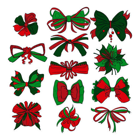 Christmas presents bows set in different styles. Isolated on white background. Hand drawn vector illustration