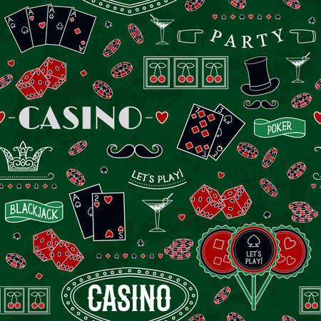 Casino theme. Seamless pattern with decorative elements on green texture cloth. Gambling symbols. Vintage vector illustration 矢量图像