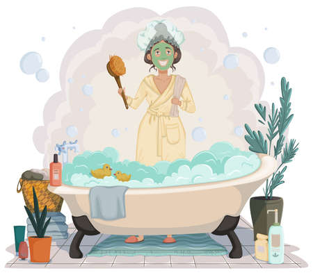 Young woman going to take bath. Girl wears white bathrobes and towel in hands standing in the bathroom near bath full of foam. Beauty and body care concept. Vector illustration