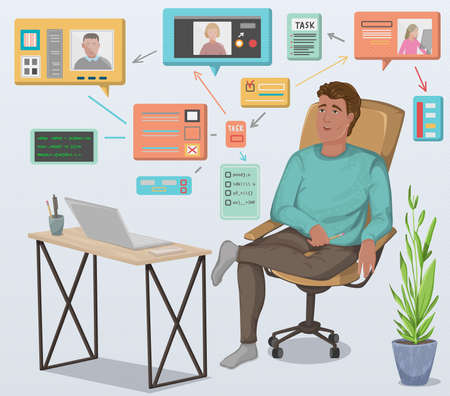 Programmer working remotely with laptop sitting at table and holds a meeting with other employees. Distant work with freelancers. Home office workplace. Vector illustration