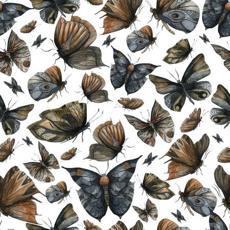 Seamless pattern with night dark butterflies set. Abstract fantasy design background for print, poster, fabric, wallpaper. Watercolor illustration 免版税图像