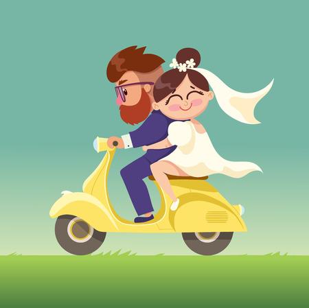 Les jeunes mariés vont sur un moped.Happy marié couple.Vector moderne appartement de caractère élément de conception de jour l'homme et femme couple scooter équitation de Valentine together.Romantic heureux jeunes amants couple dating.