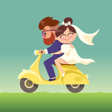 bride and groom illustration: The newlyweds go on a moped.Happy married couple.Vector modern flat character Valentines day design item man and woman couple riding scooter together.Romantic happy young lovers couple dating.