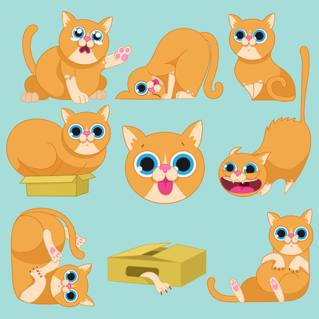 beg: red cat in different emotions.Cat characters. Cartoon vector illustration.Set of 9 stickers cat, handmade. Head cat. Icons with cat.Set Cute Cat.