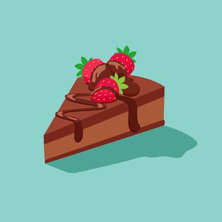 porcion de pastel: pedazo de pastel de chocolate con galletas de azúcar strawberries.Sweet postre de chocolate decorativo se establece con la ilustración vectorial aislado crema y fresa decoración icon.dessert icono de la ilustración set.vector