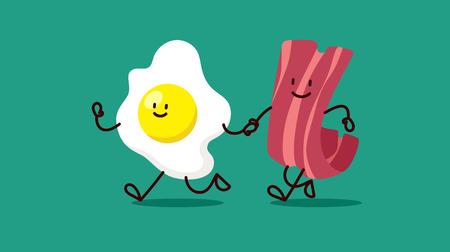 manos unidas: huevos y tocino de dibujos animados se est�n ejecutando somewhere.Bacon y huevos de dibujos animados de colores divertidos Amigos plana Vector aislado de la ilustraci�n en el fondo blanco