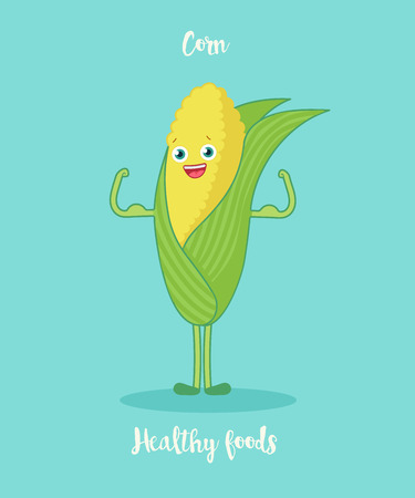greenness: Funny corn with biceps.Funny cartoon character. Vector illustration. Isolated on white background. Vegetables characters.