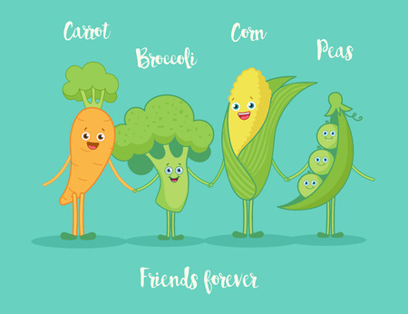 garden stuff: Funny vegetables holding hands.Funny cartoon character. Vector illustration. Isolated on white background. Vegetables characters.Set.