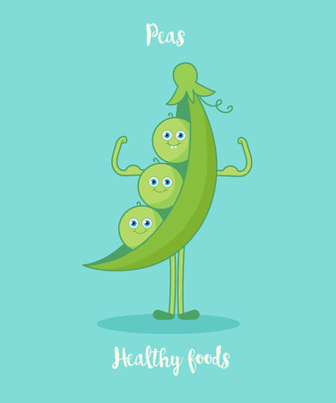 greenness: Funny peas with biceps.Funny cartoon character. Vector illustration. Isolated on white background. Vegetables characters. Illustration