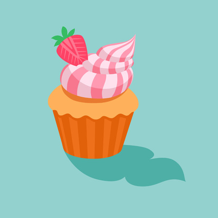 sugar cookies: Cake with strawberry cream.Sweet dessert chocolate sugar cookies decorative set with cream and strawberry decoration isolated vector illustration icon.dessert icon set.vector illustration Illustration