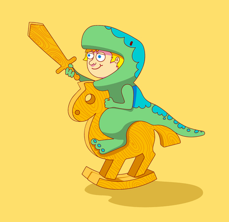 horseplay: Boy dressed as a dinosaur riding a wooden horse.Little Boy riding a wooden horse.play with toys.