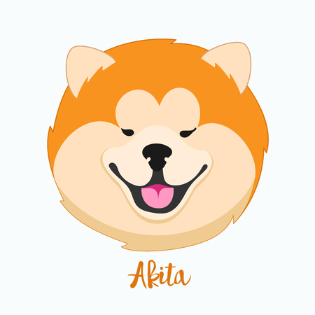 akita: Vector dog Akita icon flat design.Dog characters. Cartoon vector illustration handmade. Head dog. Icon with dog isolated on white background.