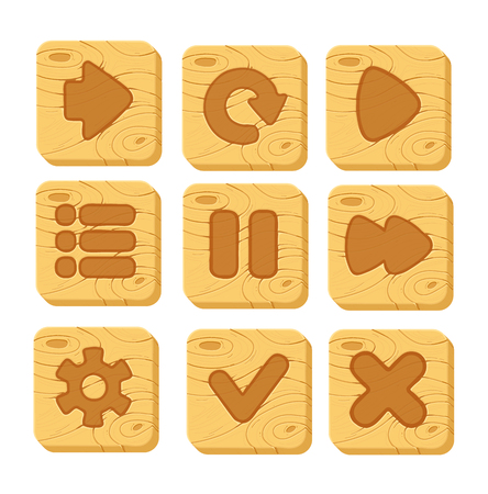 gui: Set of wooden buttons with web icons, isolated vector elements. wooden gui elements, vector isolated games assets