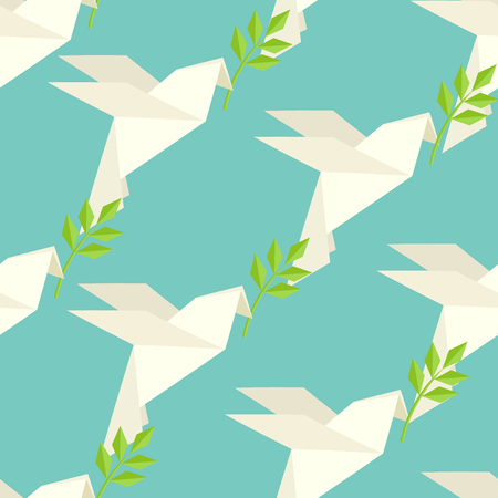 carries: Origami dove flies and carries a twig on pattern