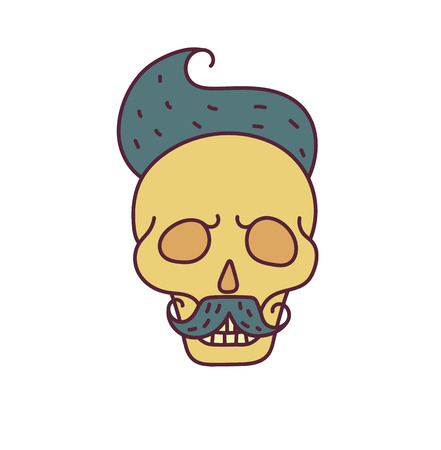 Skull with Hipster hair,mustache and beards.Color Fashion vector illustration.White background
