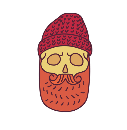skull cap: Skull with Hipster mustache,cap and beards.Color Fashion vector illustration.White background.isolated on white background Illustration