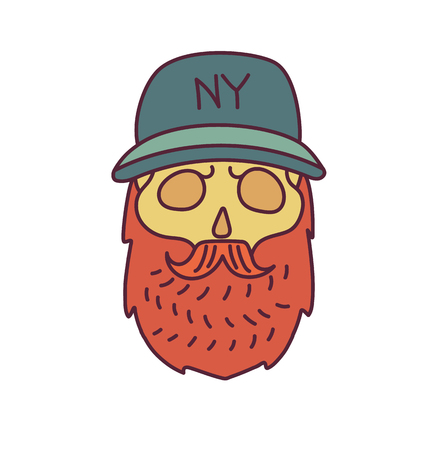 cranial: Skull with Hipster mustache,cap and beards.Color Fashion vector illustration.White background Illustration