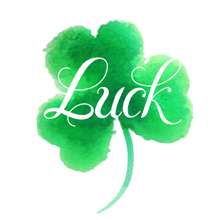 good s: Good luck.Hand lettering.Good luck four leaf clover.Clover painted in watercolor. Vector illustration. St. Patrick s day symbol.Happy St. Patrick s Day.Luck of the Irish.Isolated on white background.