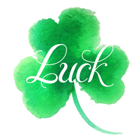 st patrick s day: Good luck.Hand lettering.Good luck four leaf clover.Clover painted in watercolor. Vector illustration. St. Patrick s day symbol.Happy St. Patrick s Day.Luck of the Irish.Isolated on white background.