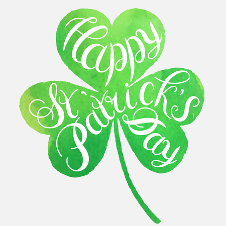 st patrick s day: St. Patrick s Day greeting. Vector illustration.Happy St. Patrick s Day Vector.Isolated vector clover. Good Luck Unique Hand Written Calligraphy. Luck of the Irish.Hand lettering.