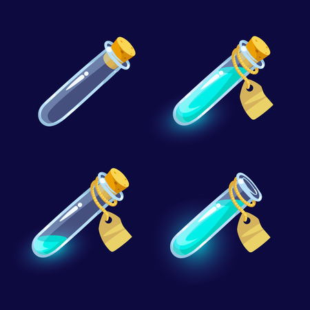 alchemist: Vector illustration. Set of Cartoon Bottles of potion.Glass flasks with colorful liquids isolated on a dark background. Game icon of magic elixir.Vector design for app user interface.For animation