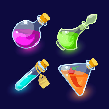 with liquids: Vector illustration. Set of Cartoon Bottles of potion.Glass flasks with colorful liquids isolated on a dark background.icon game magic. Game icon of magic elixir.Vector design for app user interface